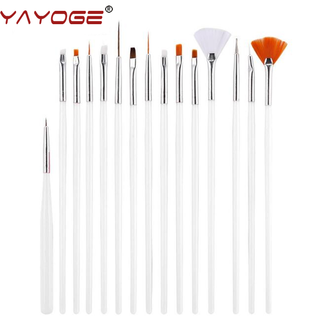 15pcs / sets Nail Art UV Gel Brush kolinsky acrylic Painting Dotting Pen Brushes Bundle Tool Kit tools Manicure DIY Salon