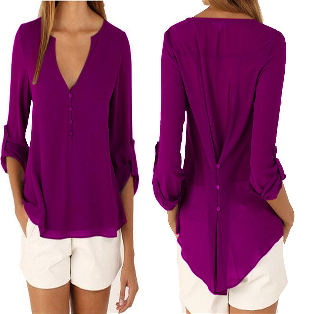Plus Size M-5XL V-neck Chiffon Blouse Womens Tops Fashion 2018 Women Summer Loose Long Sleeves Solid Color Office Tulle Shirt 4