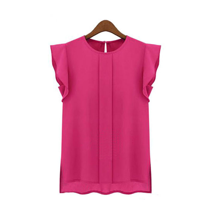 Free Ostrich Chiffon Shirt 1PC Womens Casual Loose Short Tulip Sleeve Elegant Blouse Tops 2019 C1340