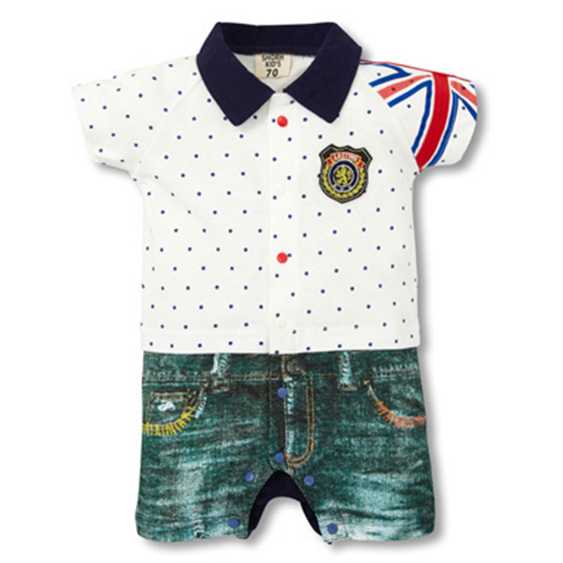 4 Colors 2017 New Summer Infant Baby Bebe Boys Short Sleeve Cotton Rompers Turn-down Collar Jumpsuit Toddlers Clothes for 7-24M new 2017 brand quality 100% cotton newborn baby boys clothing ropa bebe creepers jumpsuit short sleeve rompers baby boys clothes