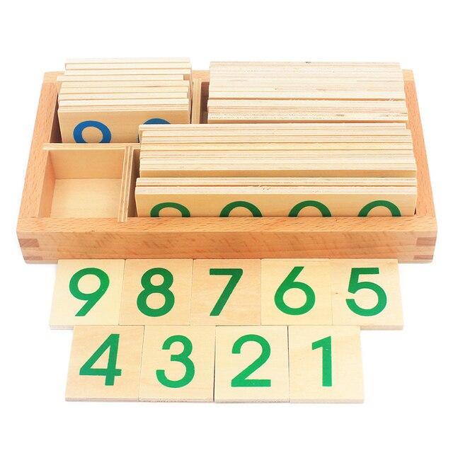 Los niños de madera Montessori número Digital 1-9000 tarjetas juguetes para los estudiantes de aprendizaje tamaño pequeño Educativos | Juguetes Educativos