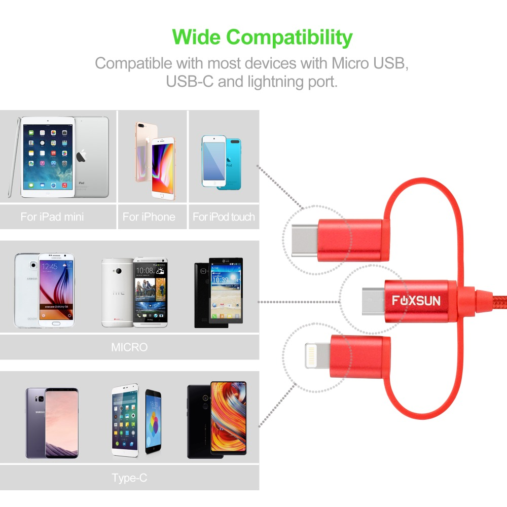 Foxsun Multiple 3 in 1 Cable 1M For Lightning Cable Micro USB Cable Type C Cable For iPhone X 8 7 6 6 Plus Samsung S8 Huawei