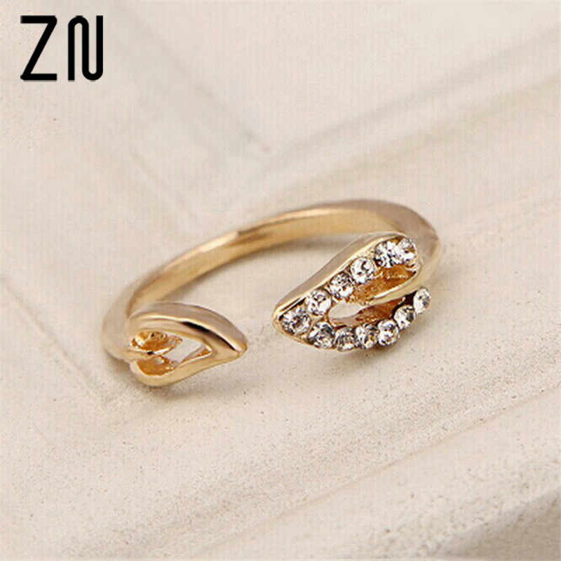 ZN 2018 New Rings For Women Lovers Open Ring  Personality Party Leadership Commitment Gift Shining Bright Elements