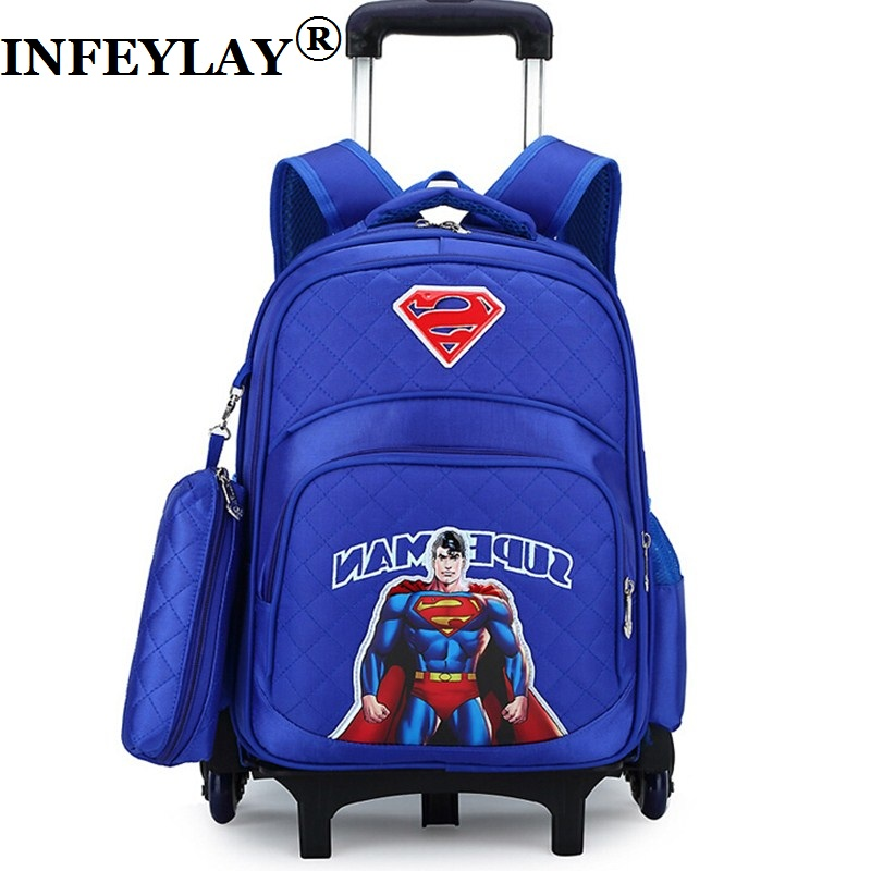 2154c9f992 Superman anime luggage 3D child cartoon school bag students rolling ...