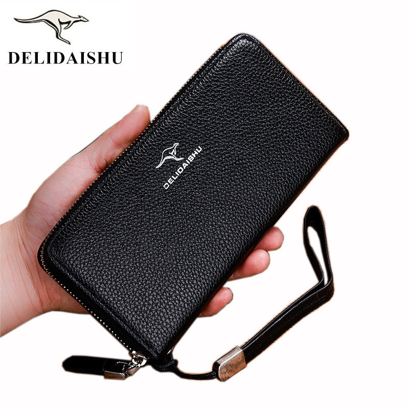 цены на Men leather wallet with strap high quality zipper wallets men famous brand long purse male clutch casual style long money bag