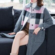 3XL, 2 цвета, Брендовое длинное пальто, Осень-зима, Женское пальто, новинка, повседневное, хит цвета, пальто с отворотом, утолщенное, теплое, свободное, шерстяное пальто для женщин
