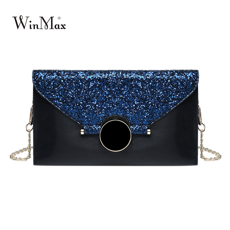 2017 sequins Women's Clutch Bag Diamonds Chain Leather Women Envelope Bag prom Clutch Evening Party Bag Female Clutches Handbag