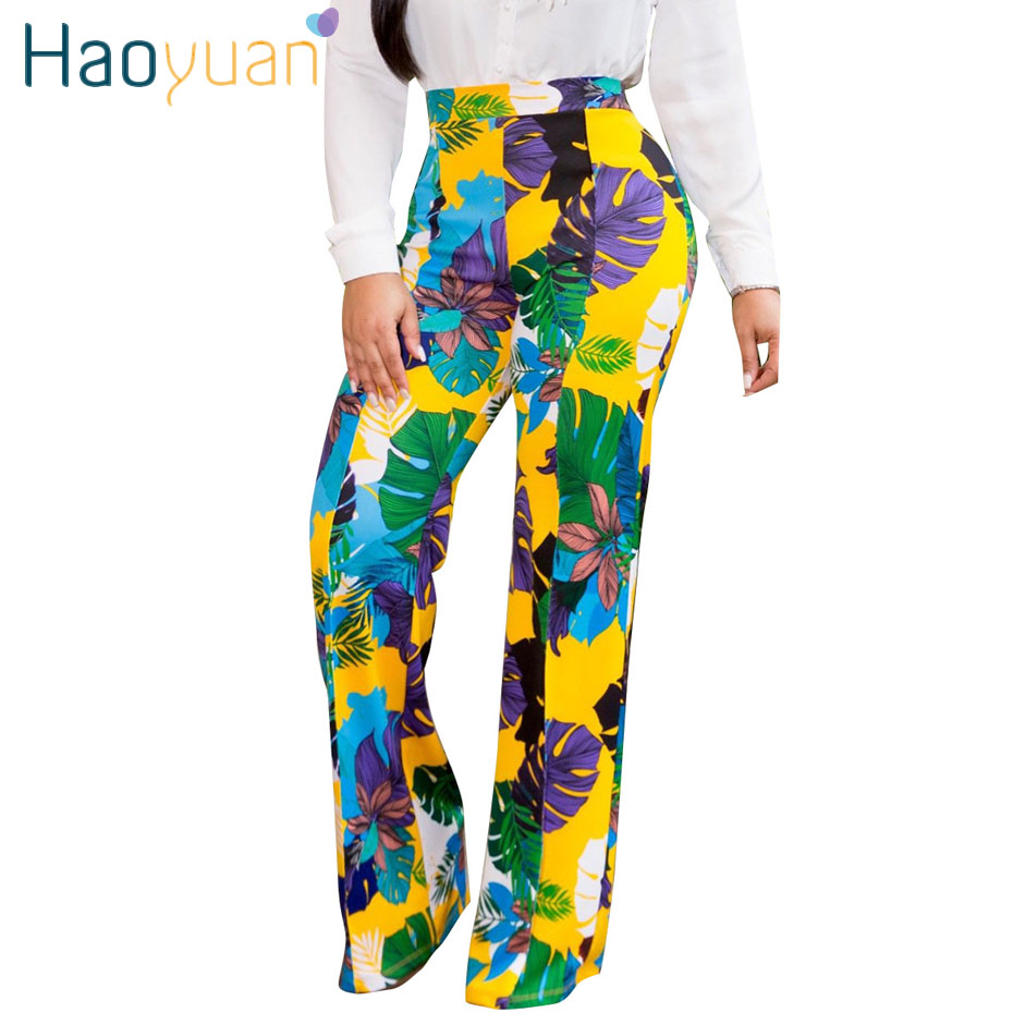 HAOYUAN Sexy   Wide     Leg     Pants   Women 2019 Summer Streetwear High Waist Floral Trousers Casual Straight Plus Size Bohemian   Pants
