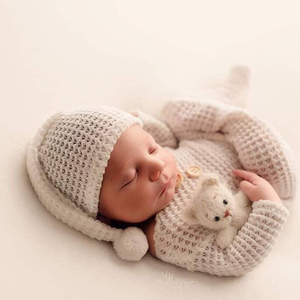 2019 New Born Photo Newborn Photography Props Accessories Clothes Baby Boys Rompers & Hat Sets Bebe Reborn 55cm Clothing Studio(China)