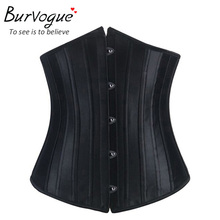 sexy corset bustier black satin underbust waist cincher training 24 steel bone corselet S-2XL