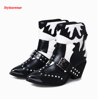Stylesowner Pointed Toe Martin Boots American Cowboy Cool Boots Spike Studded Belt Fashion Short Boots Retro Western Ankle Bota