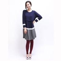 Nueva primavera Otoño e Invierno modelos de mujeres embarazadas lactancia Corea moda maternidad o-cuello casual vestido suelto
