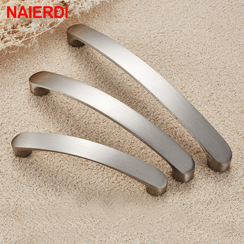 NAIERDI Cabinet Handles Knobs Aluminum Alloy Door Kitchen Knobs Brushed Cabinet Pulls Drawer Modern Furniture Handle Hardware modern brushed aluminum install address signs