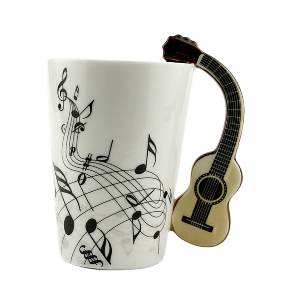 Home Use Novelty Art Ceramic Mug Cup Musical Instrument Note Style Coffee Milk Cup Christmas Gift Home Office Drinkware