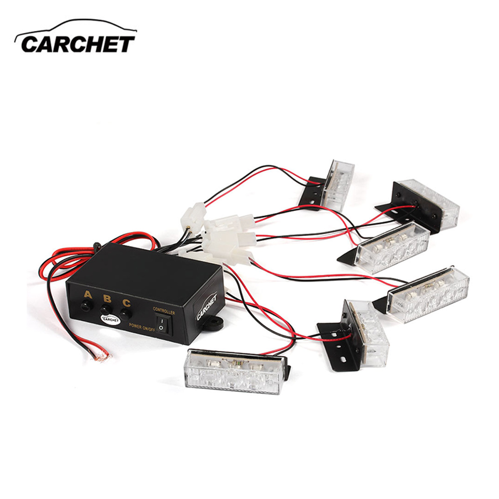 CARCHET Car Warning Lights Yellow 18 LED 12V Strobe Dash Emergency Flashing Light Lamp for Vehicle Truck 3 Mode Free SHIPPING