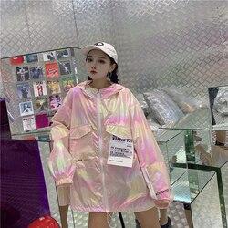 Luźne błyszczące kurtka kobiety na co dzień Neon kurtka wiatrówka z kapturem srebrna kurtka lato cienkie kurtki Plus rozmiar z długim rękawem odzieży wierzchniej 2