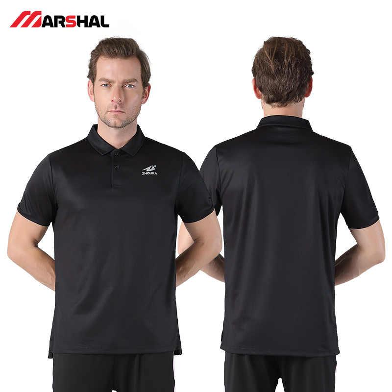 Маршала Для мужчин Поло рубашка Спортивная одежда Костюмы Для мужчин Бизнес Повседневное однотонные Мужское поло рубашка короткий рукав высокое качество натуральный хлопок