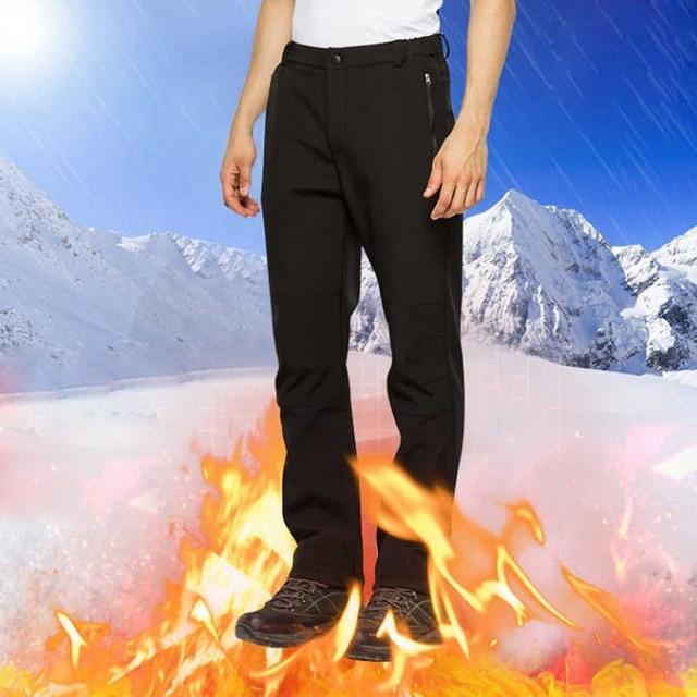 Calças de Inverno dos homens do Sexo Masculino Estiramento Quente Grosso Forro de Lã Calças Dos Homens À Prova de Vento Calças Impermeáveis Softshell Para Homens AM366