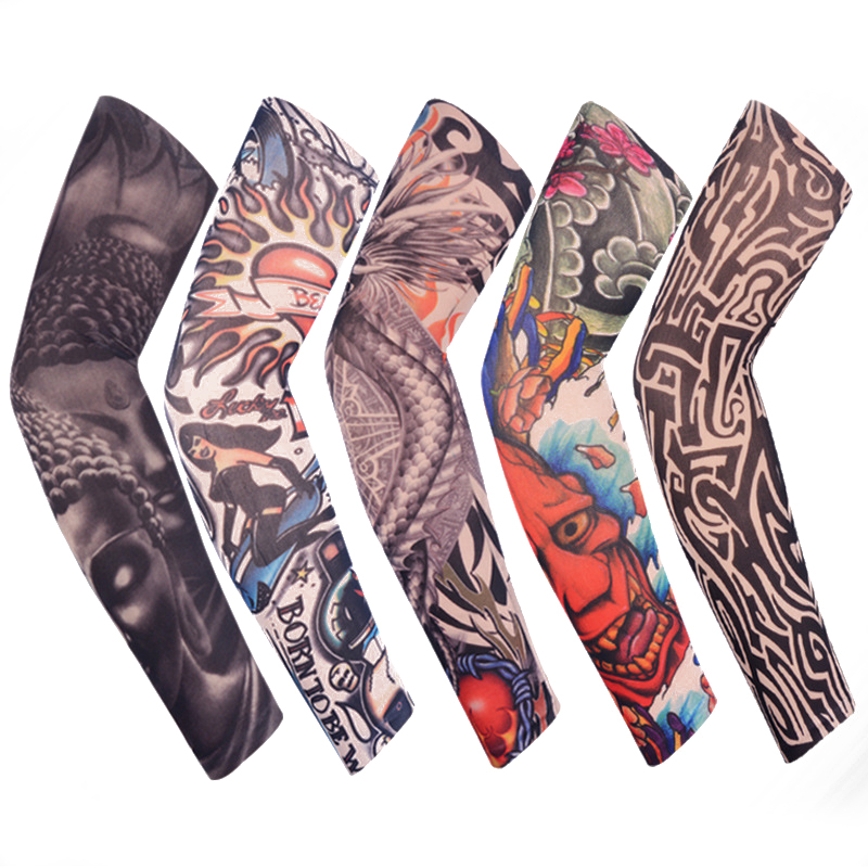 Skull Armwarmer Bike Bicycle Arm Warmer Cycling Sports Tattoo UV Block Cool Cover Sun Protection  Arm Sleeves