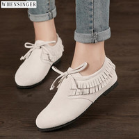 Whensinger Women Flat Shoes loafers Genuine Leather Casual tassel Suede Tie Flats Shoe