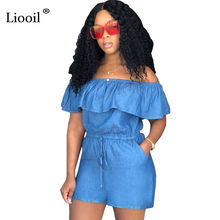4e5b90f9cf7 Liooil Plus Size Blue Denim Ruffle Playsuits Sexy Strapless Off Shoulder  Backless Lace Up Party Rompers Womens Jumpsuits Shorts