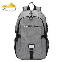 Canvas Men Backpack Anti Theft With USB Charging Laptop Business Unisex Knapsack Shoulder Multifunctional Women Travel