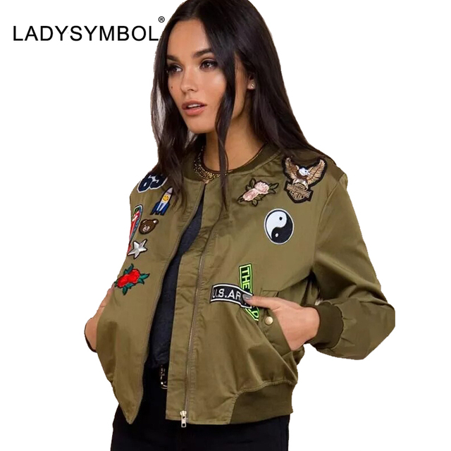 LADYSYMBOL Autumn Bomber Jacket Women Army Green Cartoon Flower Embroidery Winter Basic Jacket Coat Casual Baseball Streetwear