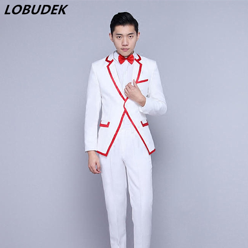 Men's Suit Formal Performance Costume Male Host stage show Slim Suit Singer Chorus costumes Bar Star fashion slim Blazers suits