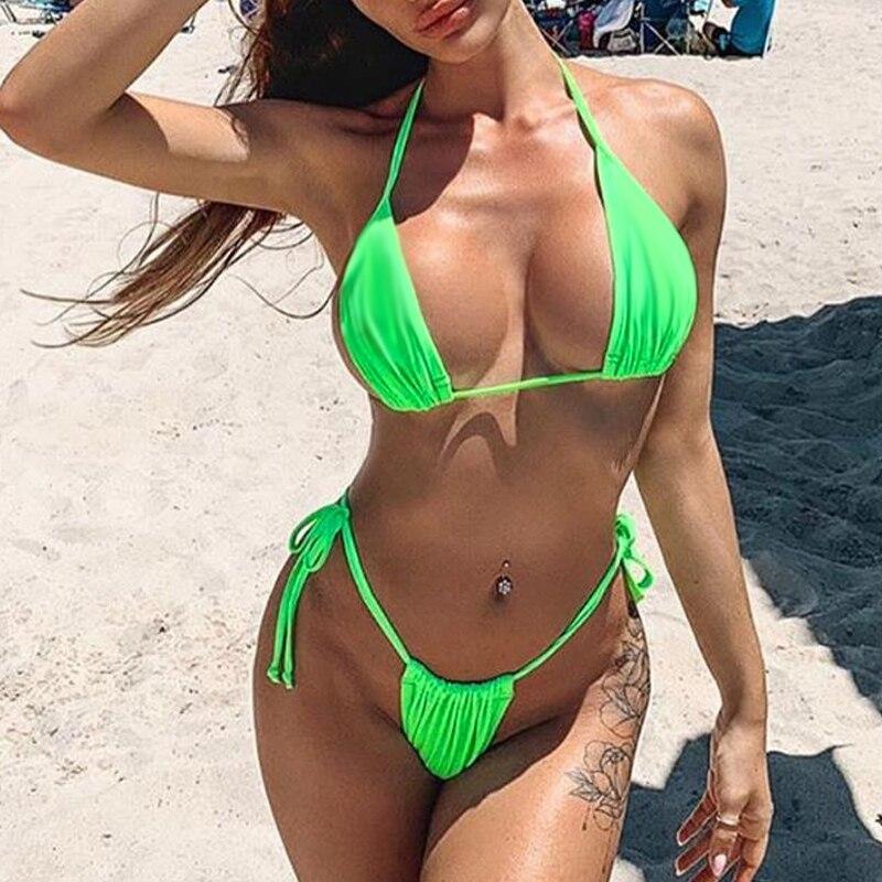 HTB1FeigdB1D3KVjSZFyq6zuFpXa9 Bikinx Neon bikini thong biquini High cut swimwear women Sexy push up brazilian swimsuit female bathing suit Micro bikini 2019