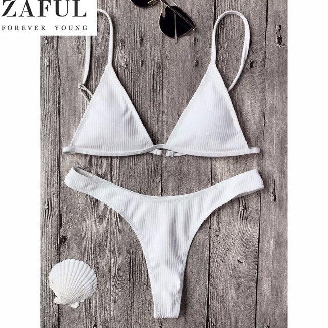 890bb5a75f ZAFUL Hot Swimwear Bikini Sexy Beach Swimwear Women Swimsuit Bathing Suit  Plunge Cami Thong Bikini Set maillot de bain Biquini