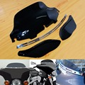"""Slotted Stock Batwing + Trim 8"""" Black Windshield+Side Air Wings For Harley Davidson 1996-2013 Electra Street Tri Glide Touring"""