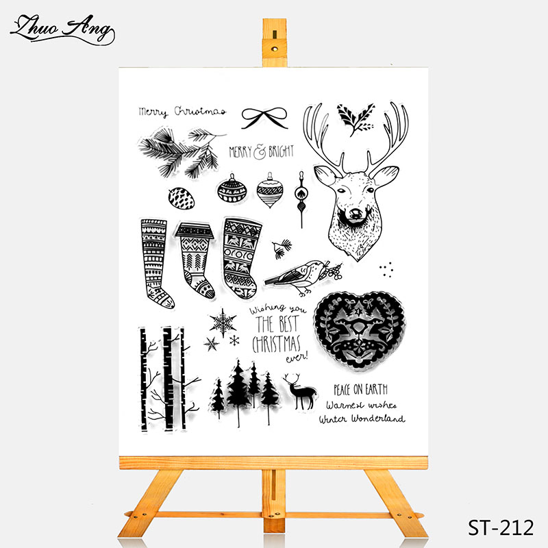 ZhuoAng Transparent Clear Stamp Reindeer And Woods Seal for DIY Scrapbooking Photo Album Card Making DIY Decoration Supply