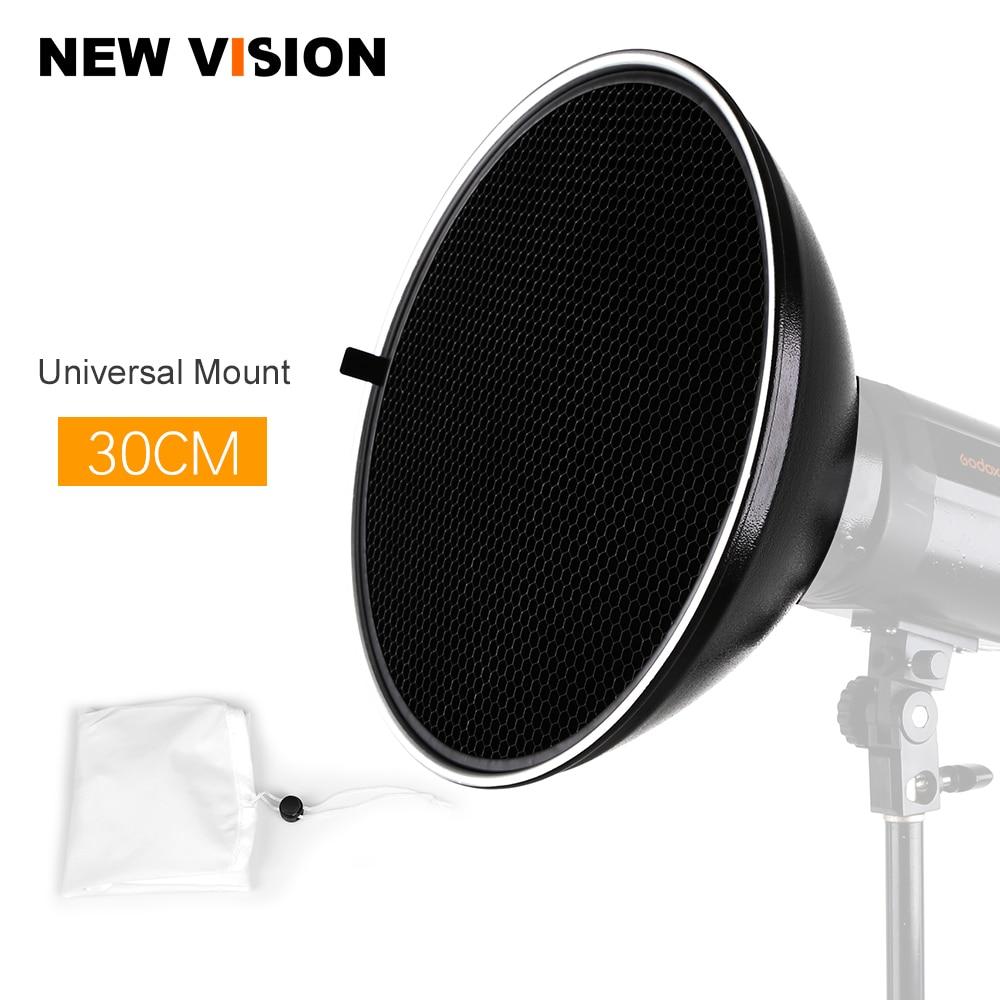 30cm 12 Studio Silver Beauty Dish Universal Mount Honeycomb Grid Diffuser Sock
