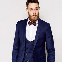 Center Vent Groomsmen Shawl Lapel Groom Tuxedos Dark Blue Men Suit Wedding Best Man Blazer Mens