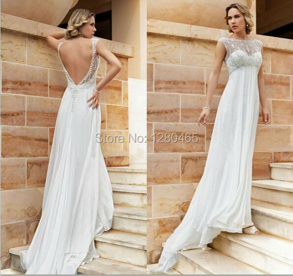 Us 148 0 Simple Chiffon Wedding Dress Beach Wedding Dress Maternity Dress With Embroidery Open Back In Wedding Dresses From Weddings Events On