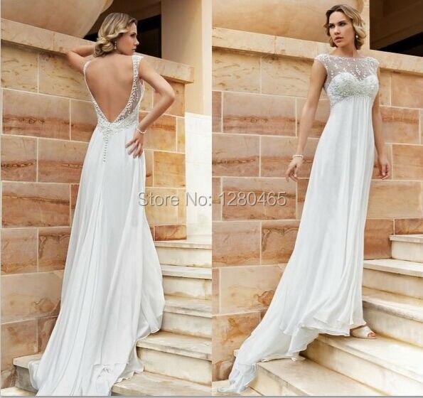 Simple Chiffon Wedding Dress Beach Wedding Dress Maternity Dress With  Embroidery Open Back