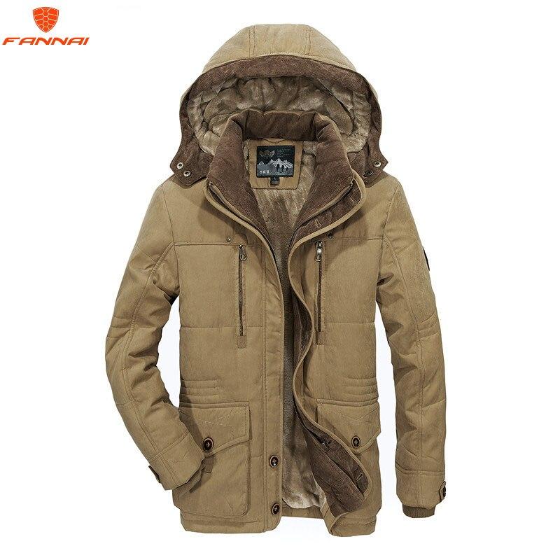 แจ็คเก็ตผู้ชายฤดูหนาวขนาดใหญ่ L 6XL Warm Outwear ฤดูหนาวแจ็คเก็ตชาย Windproof Hood เสื้ออบอุ่นผู้ชาย Parkas-ใน เสื้อกันลม จาก เสื้อผ้าผู้ชาย บน   1
