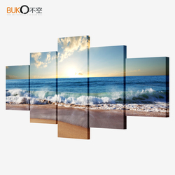 5 piece canvas art picture modular sea painting modern pictures on the wall for the kitchen.jpg 250x250