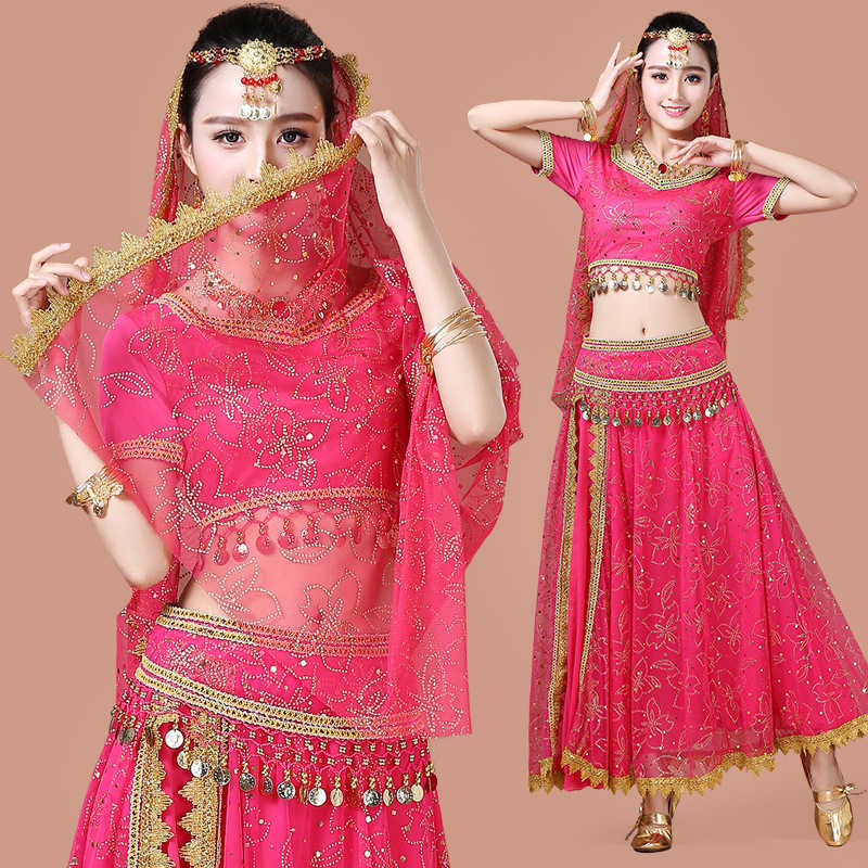 Sari Dancewear Women Belly Dance Clothing Set Indian Dance Costumes  Bollywood Dress(Top+belt+skirt+veil+headpiece)