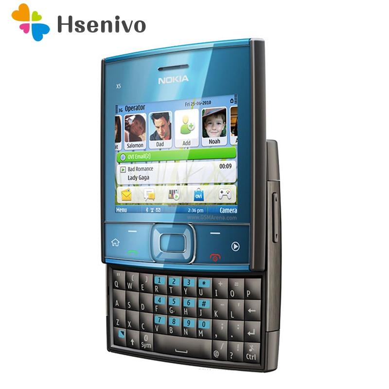 100% D'origine Débloqué Curseur Nokia X5-00 mobile téléphone GSM 900/1800 Dual Band Utilisé conditions rénové