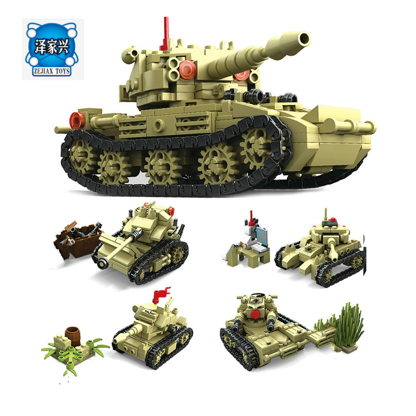 KAZI Toy Army Building Blocks Compatible Lepins City DIY 4 Style World War Tank Weapon Bricks Educational Toy For Children kazi building blocks toy pirate ship the black pearl construction sets educational bricks toys for children compatible blocks