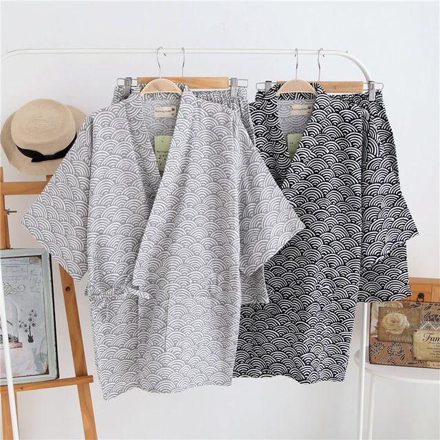 96db142074 Spring kimono style Pajamas Set with short pants Cotton short sleeves Traditional  Yukata Sleepwear Japanese Loungewear