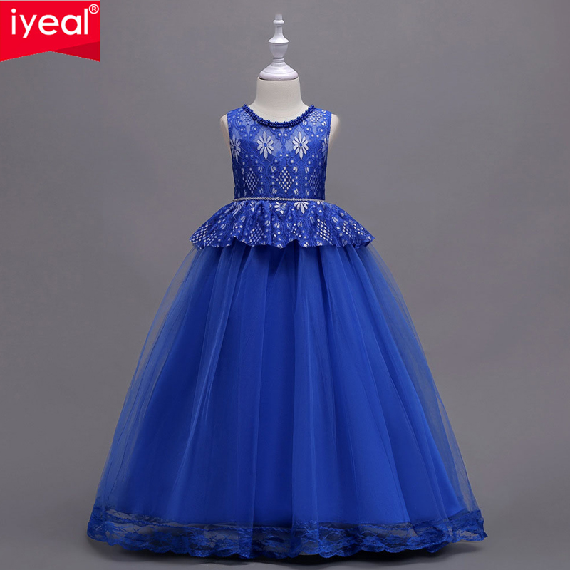 IYEAL Girls Princess Ball Gown Dress For First Communion Birthday Wedding Party 6 Colors Tulle Lace with Bow Flower Girl Dresses 2018 party girls dresses lace bow wedding birthday dresses for girls teenager ball gowns princess costume girl frock bride 6 15y