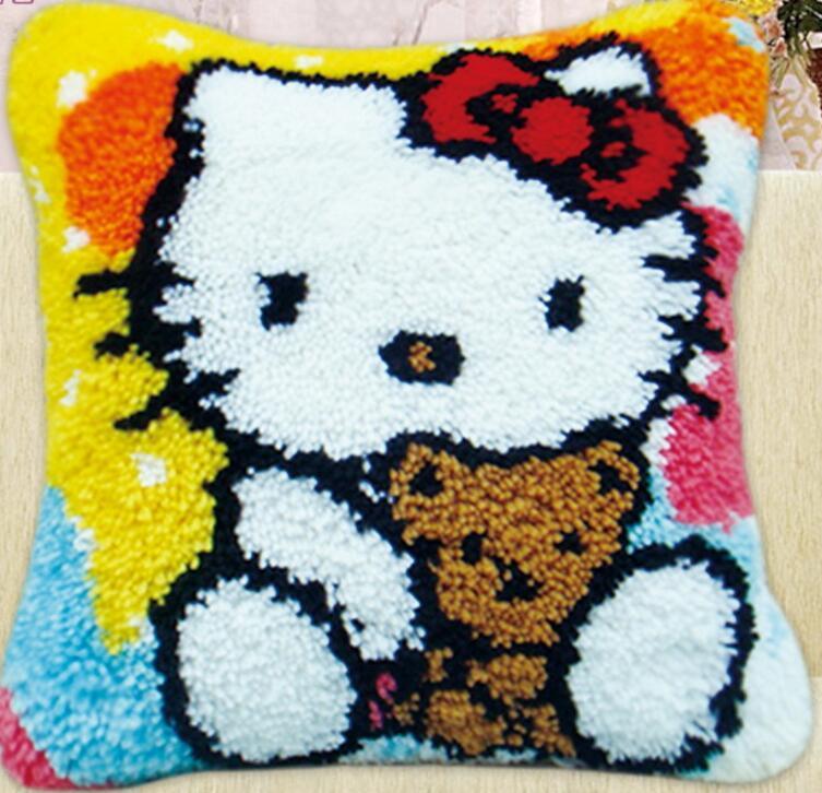 5d Pillow embroidery carpet blanket knitting needle felt craft cushion carpet lock hook cross stitch animal Bear