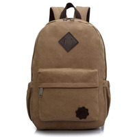 2015 Fashion Casual Men S Canvas Backpack High Quality Big Capacity Shoulder Bag Black Brown Green