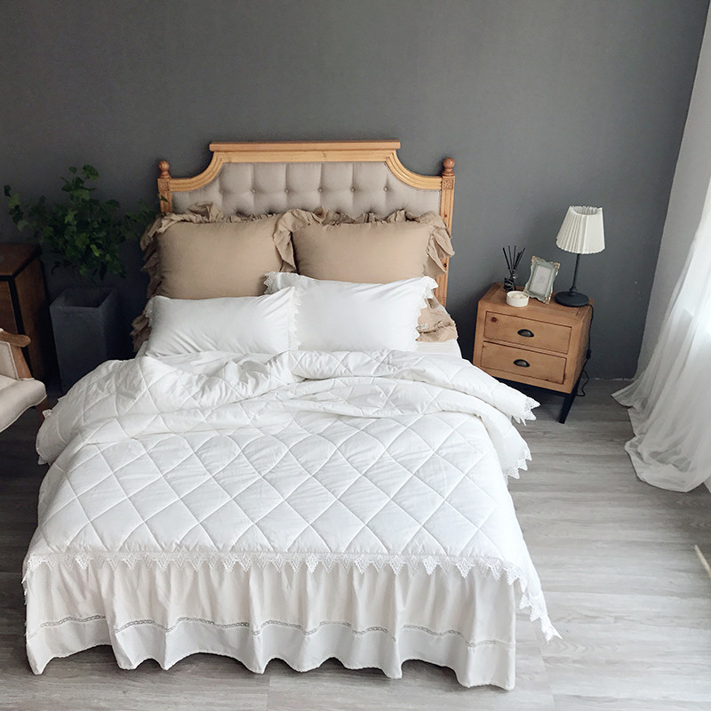Thick Cotton Quilting White Grey Bedding Sets King Queen