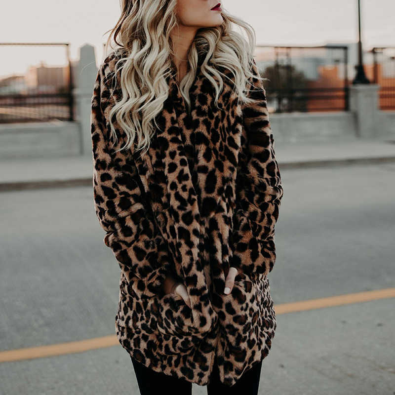 Luxury Faux Fur Coat For Women Autumn Winter Warm Fashion Leopard Printed Artificial Fur Women's Coats Casual Fur Jacket