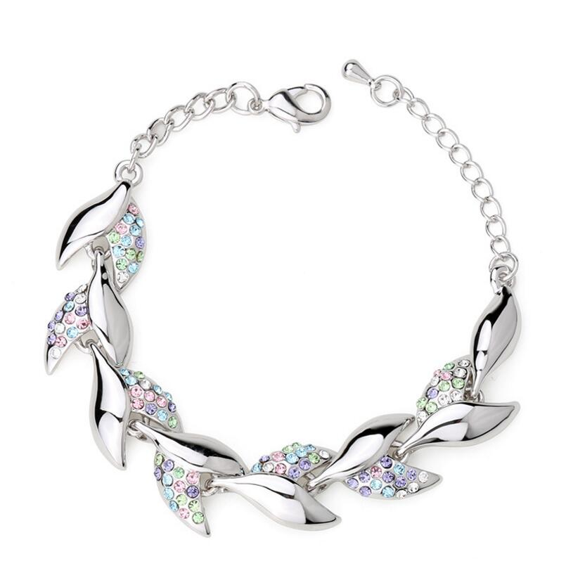 Trendy Clover Rhinestone Bracelet Plant Crystal Chain Link Bracelets Wedding Jewelry