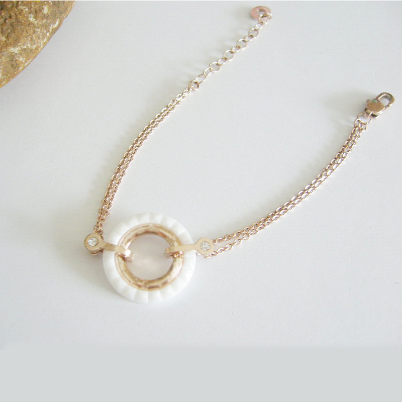 White Ceramic Round Silver Color / Rose Gold Color Stainless Steel Bracelet