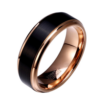 Couples Black & Rose Gold Tungsten Rings 8mm & 6mm 2